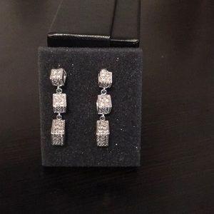 Jewelry - 10 KT White Gold Diamond Dangle Earrings 1.00carat